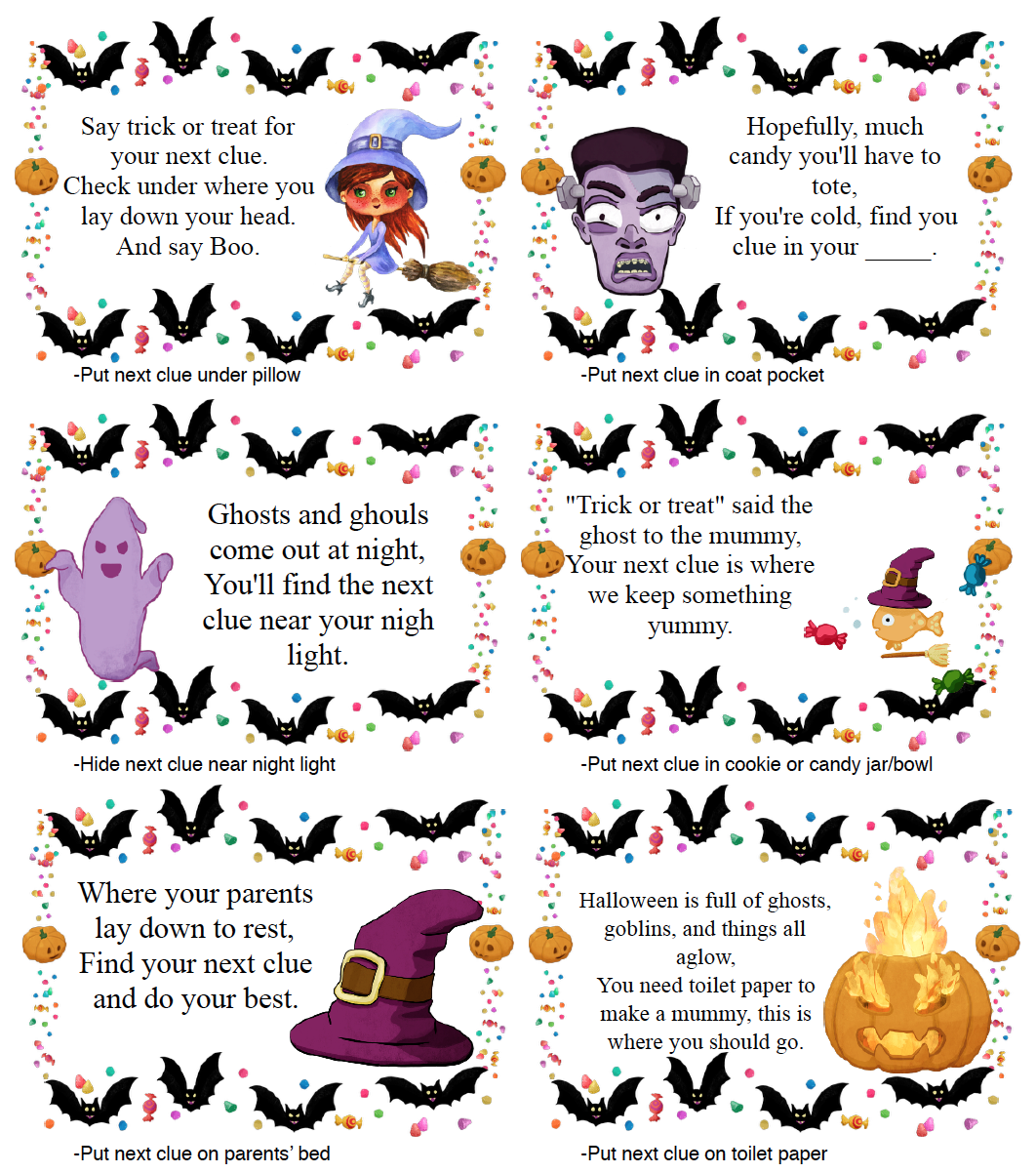 Page 4 of clues for free printable Halloween treasure hunt.