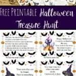 Pin image for free printable treasure hunt. Real photo of clues and trick or treat sign, image of one page of clues, and text overlay.
