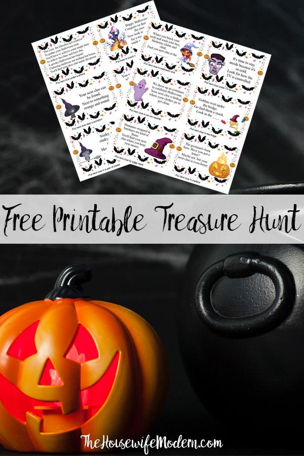 Pin image for free printable Halloween treasure hunt. Fake pumpkin and cauldron, 2 pages of clues, and text overlay.