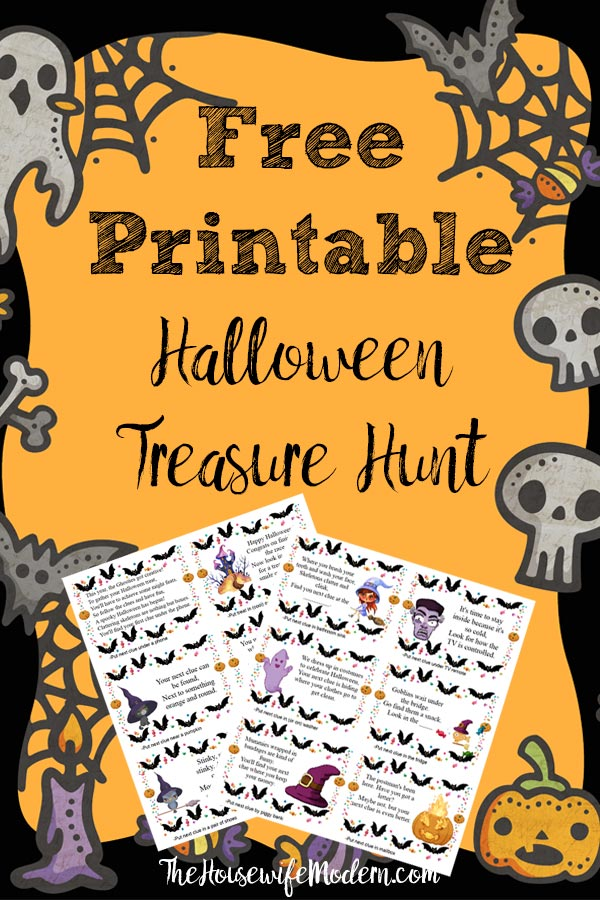 Pin image for free printable Halloween treasure hunt. Halloween graphics with 2 pages of clues and text overlay.