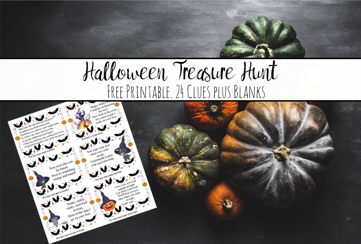 Featured image for free printable treasure hunt. Group of pumpkins, image of one page of treasure hunt, and text overlay.