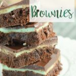 Pin image for mint brownies. Vertical image of 4 brownies with text overlay.