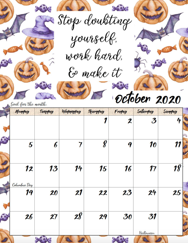 Free printable Monday start October 2020 calendar.
