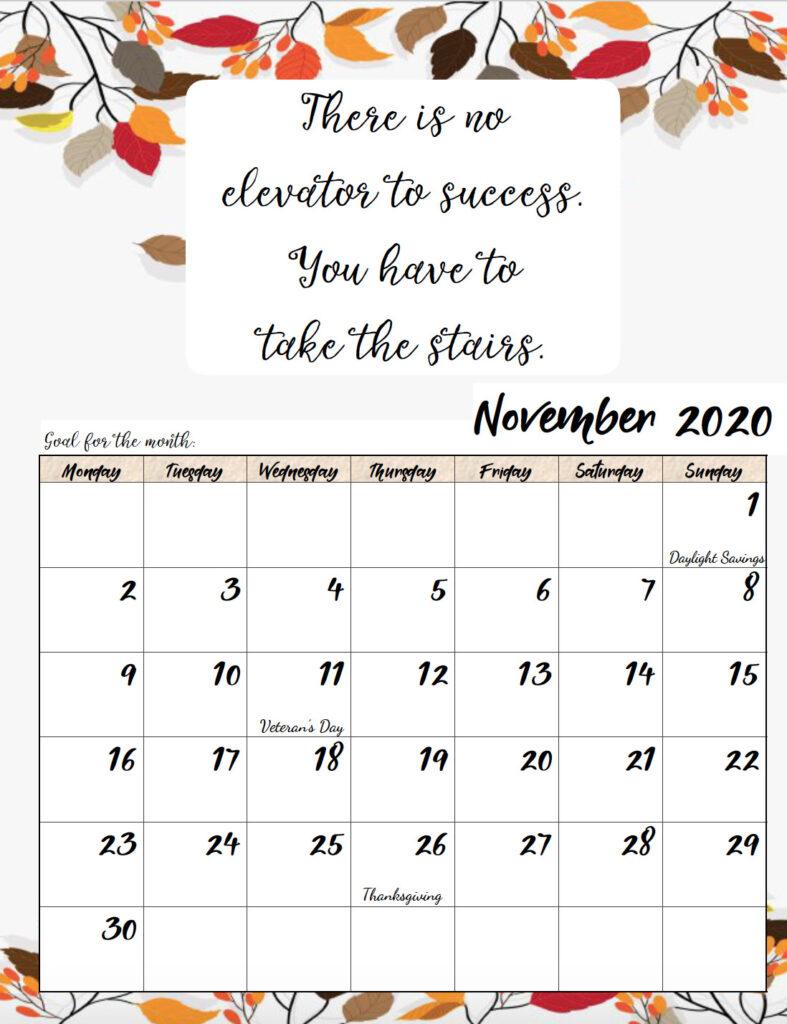 Free printable Monday start November 2020 calendar.