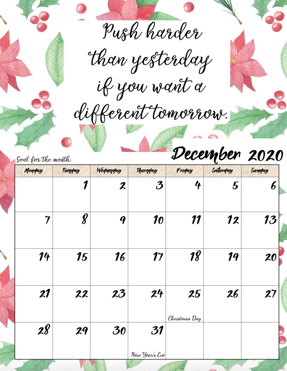 Free printable Monday start December 2020 calendar.