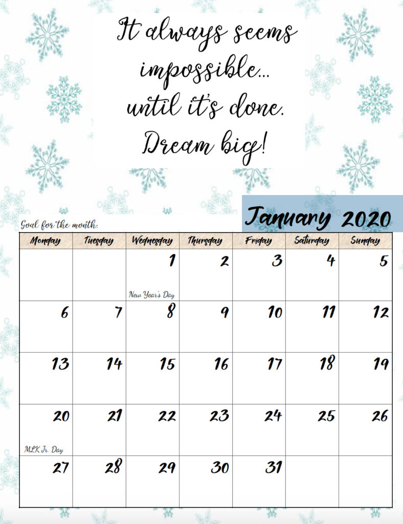 Free printable Monday start January 2020 calendar.