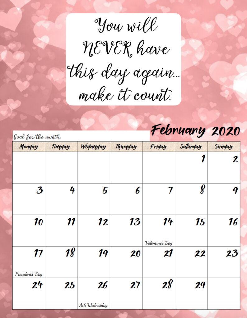 Free printable Monday start February 2020 calendar.