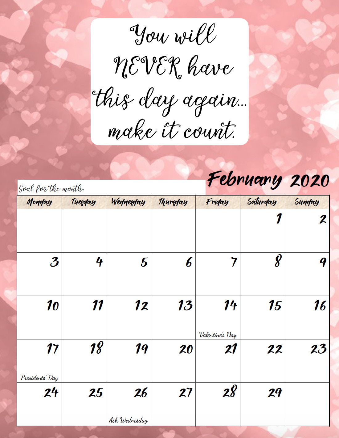 It is a photo of Adaptable Printable Monthly Calendars for 2020