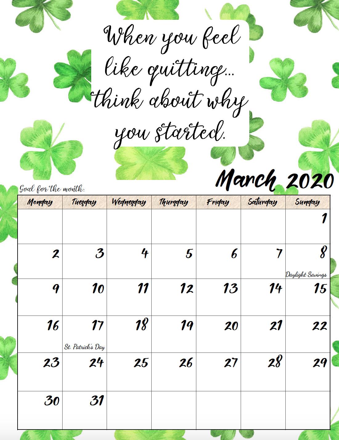 Free printable Monday start March 2020 calendar.