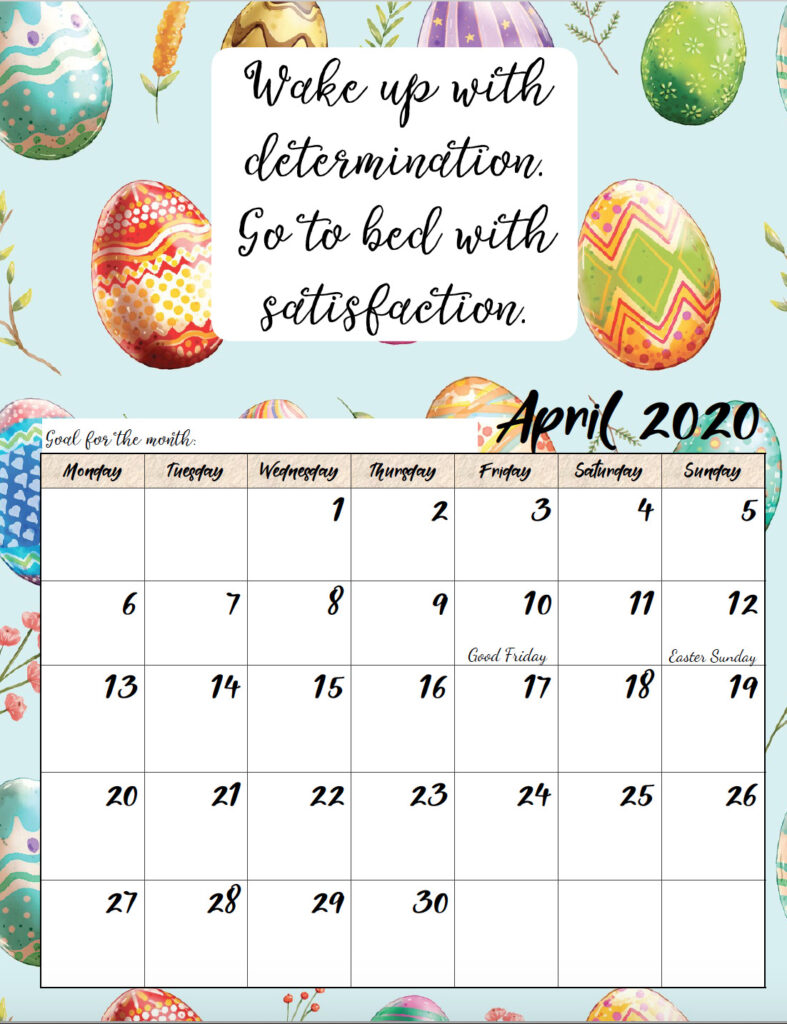 Free printable Monday start April 2020 calendar.
