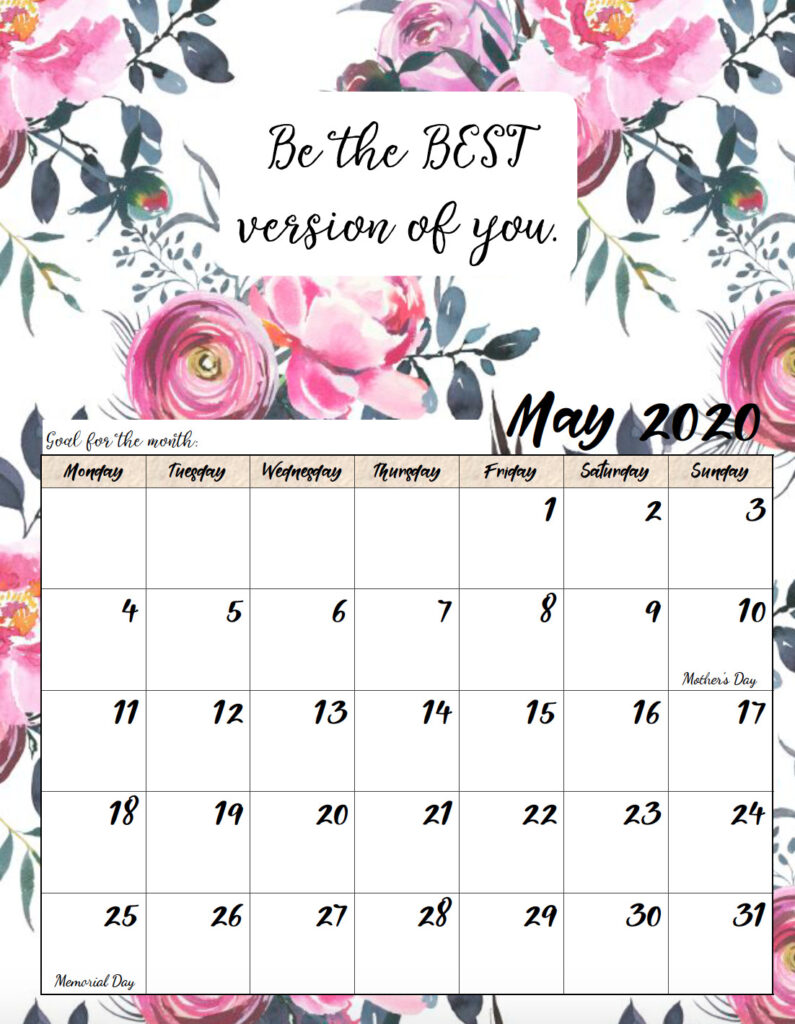 Free printable Monday start May 2020 calendar.