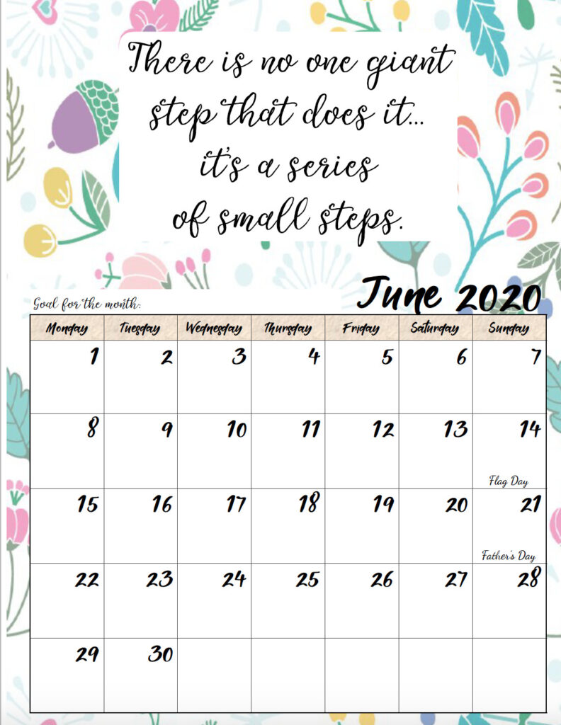 Free printable Monday start June 2020 calendar.