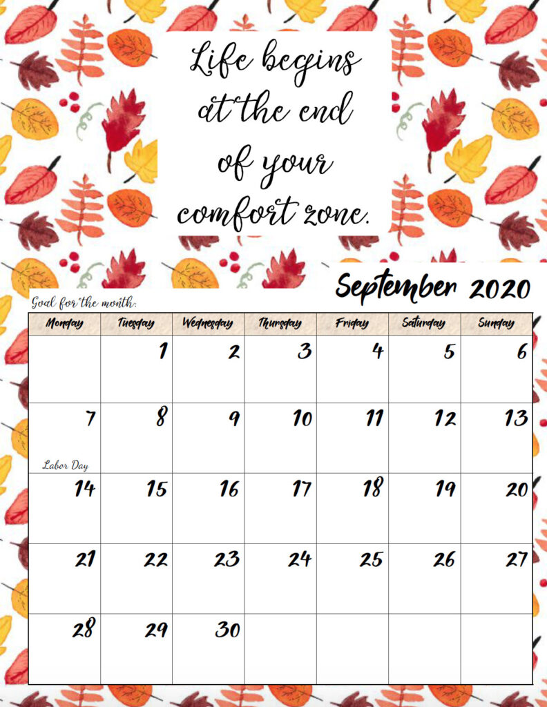 Free printable Monday start September 2020 calendar.