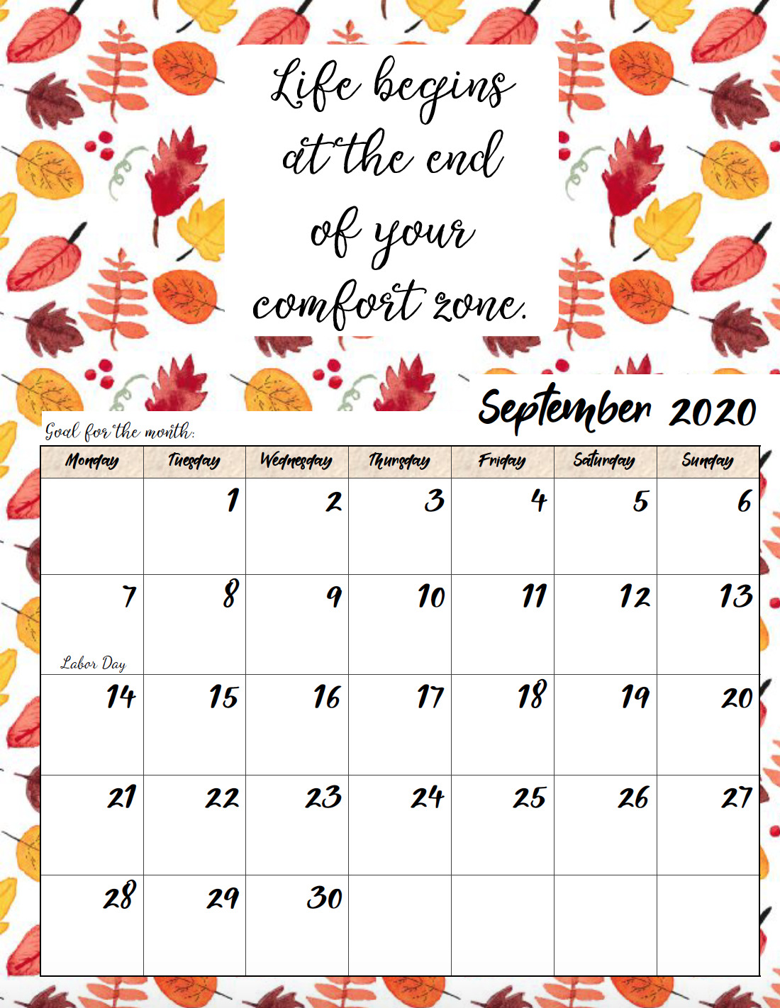 Free printable Monday start September 2020 calendar.