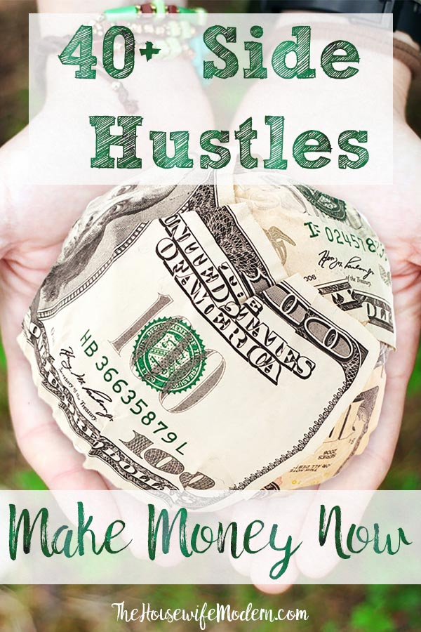 Pin image for 40+ ways to make money. Ball of money with text overlay.