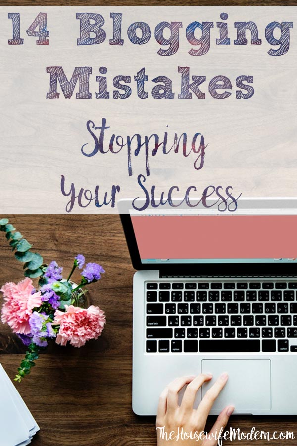 Pin image for 14 blogging mistakes. Computer with purple and pink flowers and text overlay.