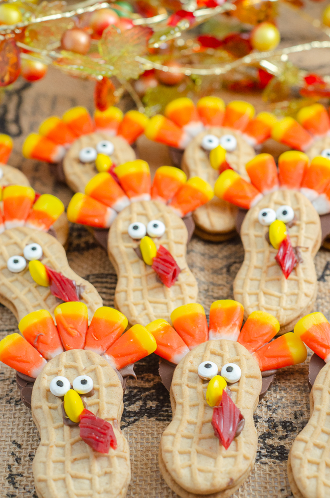 Close-up picture of nutter butter turkeys.