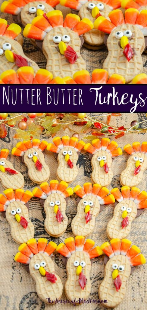 Pin image for Nutter Butter Turkeys. Two pictures of turkey cookies with text overlay.