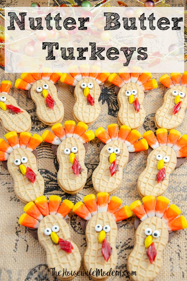 Pin image for Nutter Butter Turkeys. Long view picture of turkey cookies with text overlay.