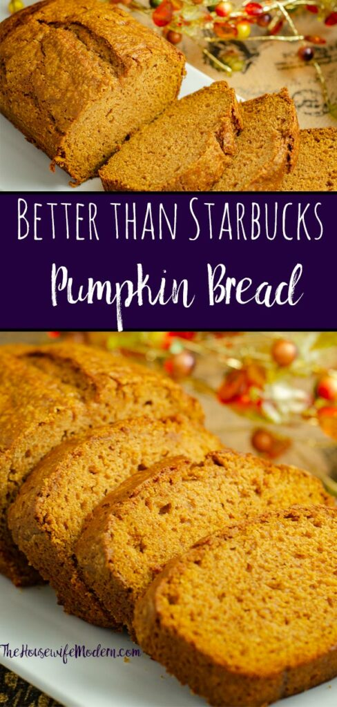 Pin image for pumpkin bread. Two images of pumpkin bread with text overlay.