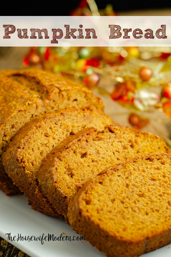 Pin image for pumpkin bread. Image of pumpkin bread with text overlay.