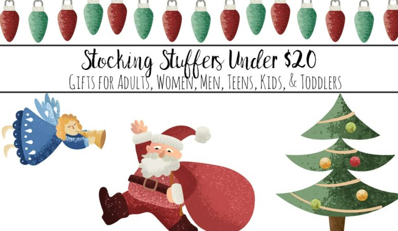 Featured image for stocking stuffers under . Santa, Christmas Tree, Angel, and Christmas lights with text overlay.