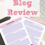 Pin image for free printable blog review. Preview of pages with text overlay and computer background.