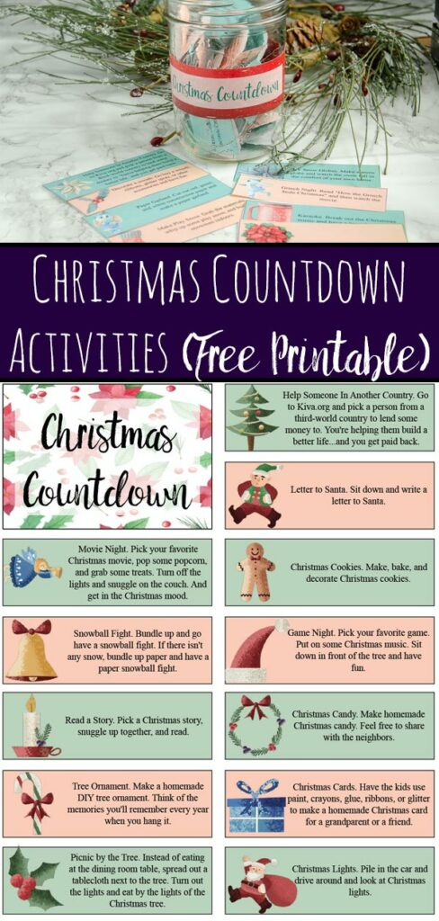Pin image for Christmas countdown activities. Image of jar with activities in it, activities spread out, and wreath in background. Also include preview of page 1 of printable.