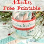Pin image for Christmas countdown activities. Image of jar with activities in it, activities spread out, and wreath in background.