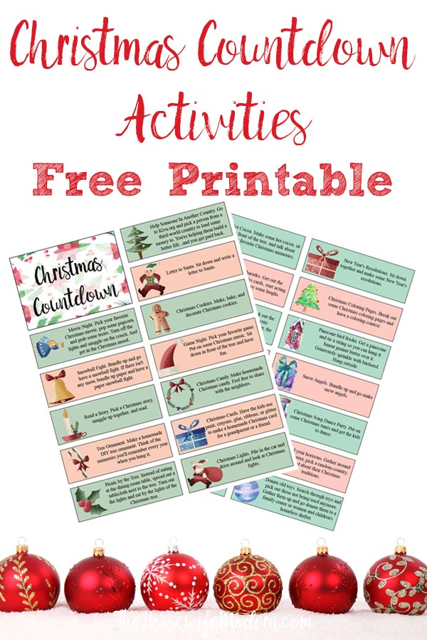 Pin image for Christmas countdown activities. Christmas ornaments on bottom, preview of two pages of printable, and text on top.