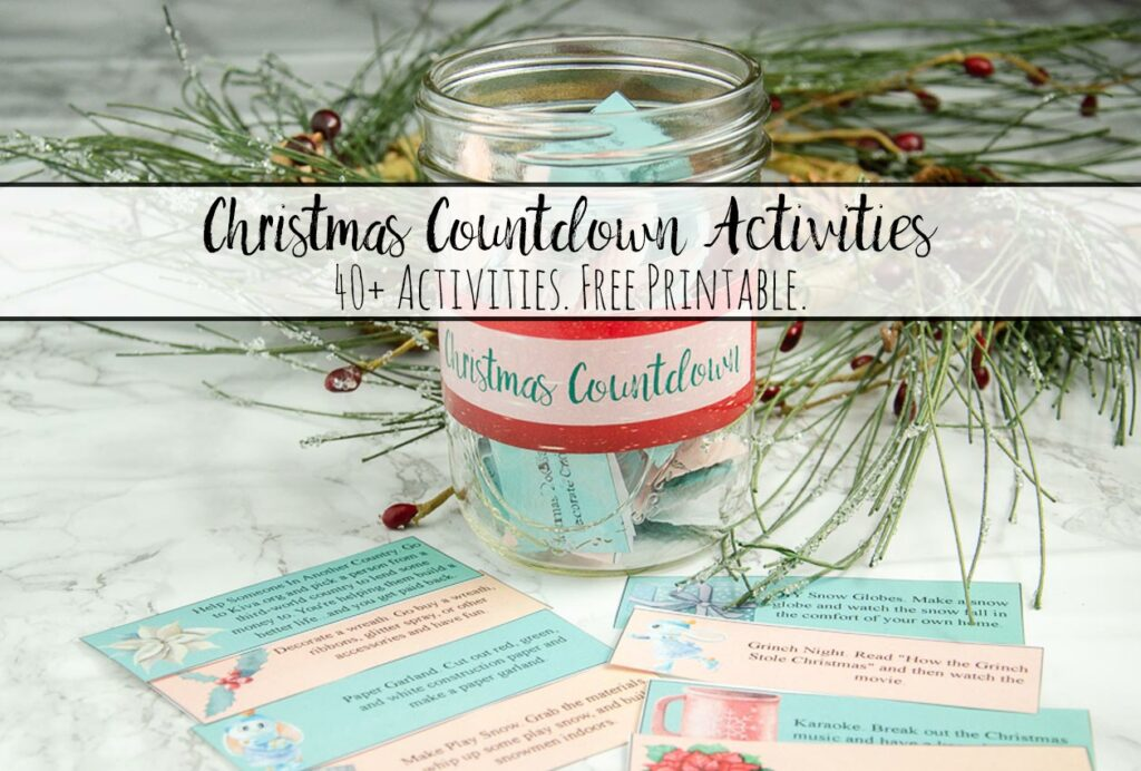 Featured image for Christmas countdown activities. Image of jar with activities in it, activities spread out, and wreath in background.