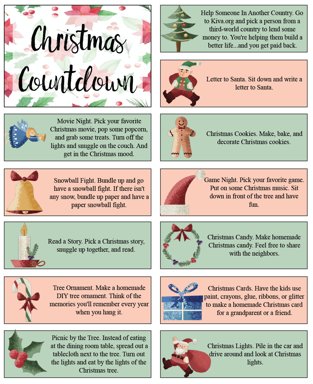 Page 1 of Christmas countdown activities.