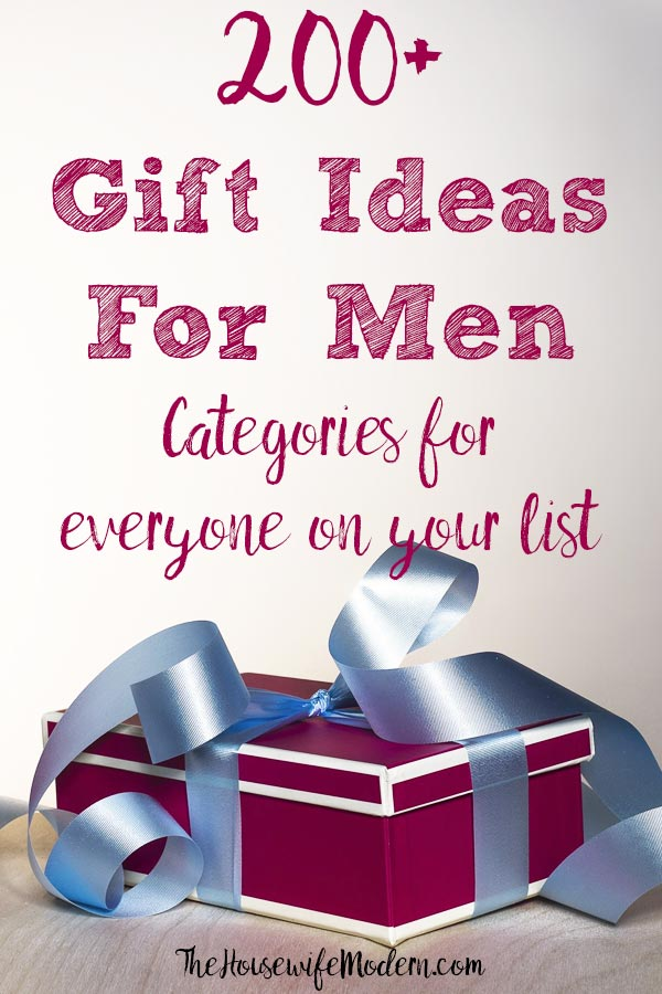 Pin image for 200+ gift ideas for men. Red box, blue ribbon, and text overlay.