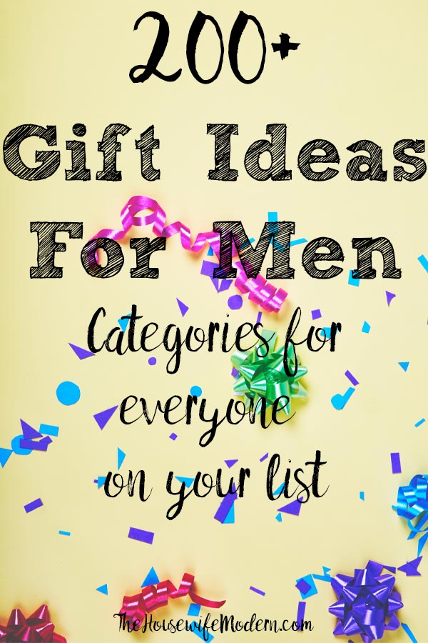 Pin image for 200+ gift ideas for men. Yellow background, ribbons and confetti with text overlay.