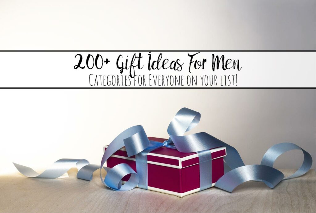 Featured image for 200+ gift ideas for men. Red present with blue ribbon and text.