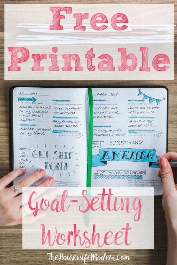 Pin image for goals vs. systems. Inspirational notebook on table with text overlay.