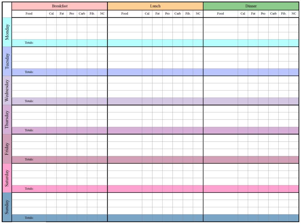 Keto meal tracker horizontal.