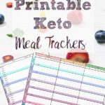 Pin image for free printable keto meal trackers. Image of two trackers over fruit with text overlay.