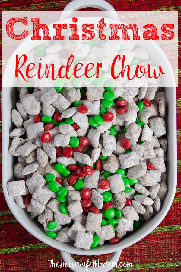 Pin image. Overhead view of reindeer chow with text overlay.