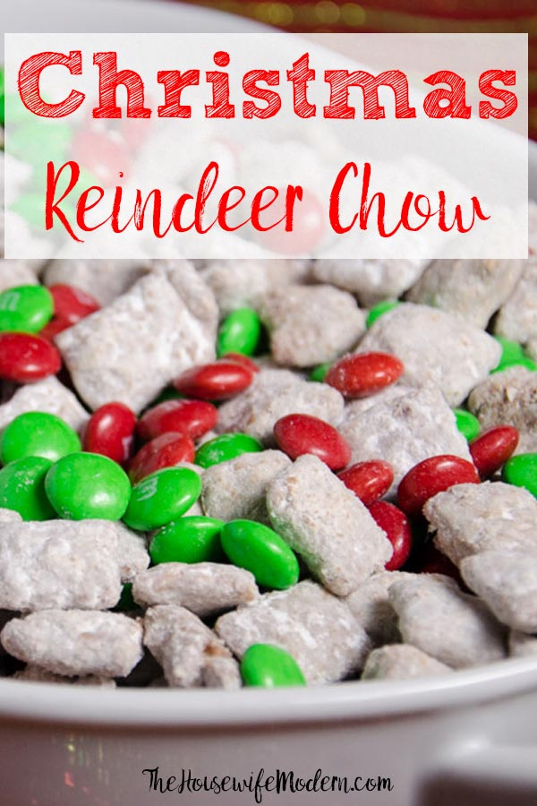 Pin image. Front close-up view of reindeer chow with text overlay.