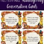 Pin image for free printable Thanksgiving conversation starter cards. Image of cards with pumpkin and fall crystals. Screenshot of a page of cards. Text overlay.