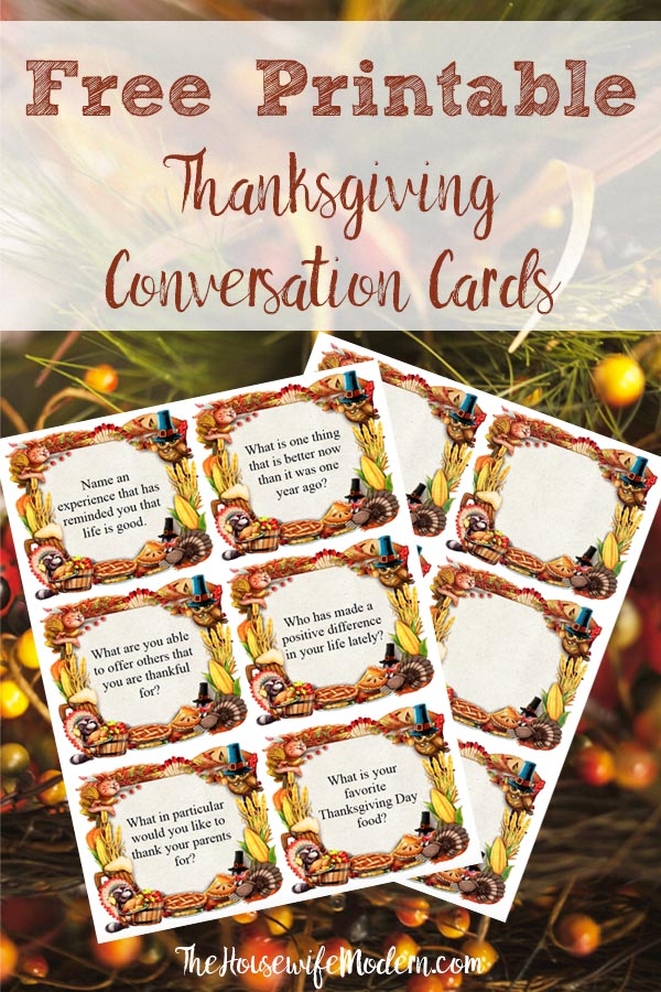 Pin image for free printable Thanksgiving conversation starter cards. Fall foliage with screenshot of cards. Text title.