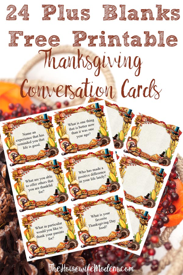 Pin image for free printable Thanksgiving conversation starter cards. Pinecones with screenshot of cards. Text title.