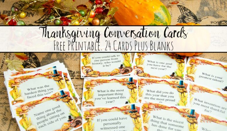 Featured image for free printable Thanksgiving conversation starter cards. Image of cards with pumpkin and fall crystals with text overlay.