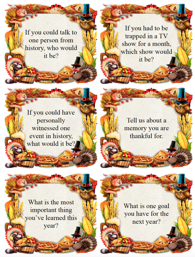 Thanksgiving conversation starter cards.