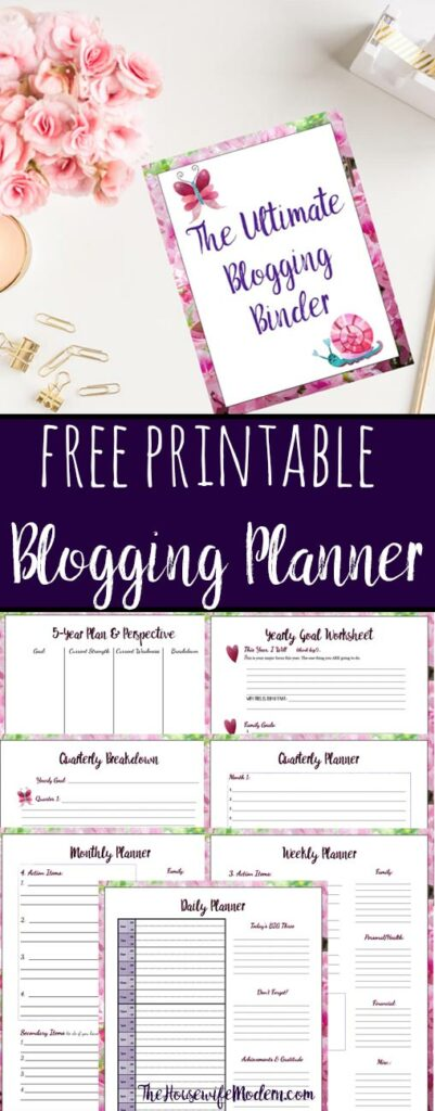 Pin image for free printable blogging planner.