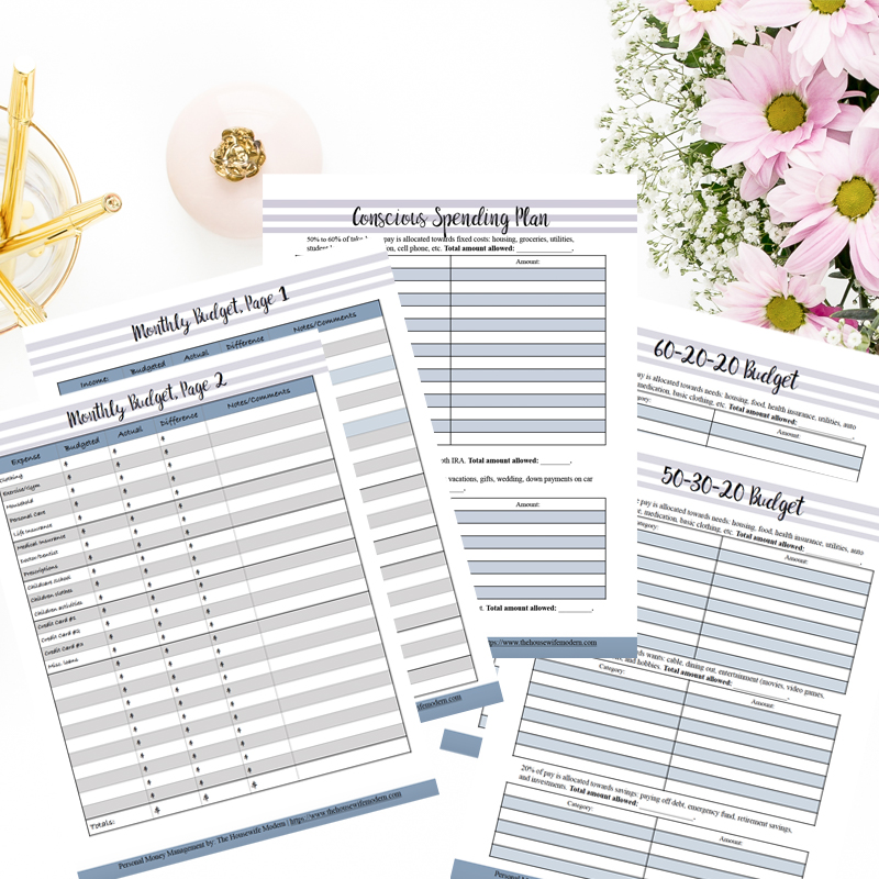 Budget worksheets in personal money management. Spread out with flowers and gold pens.