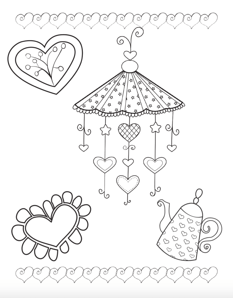 Free printable coloring sheet for Valentine's Day.