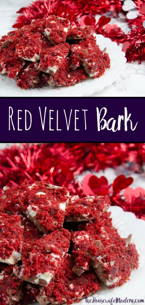 Pin image for red velvet bark. Two images of red velvet bark with text overlay.