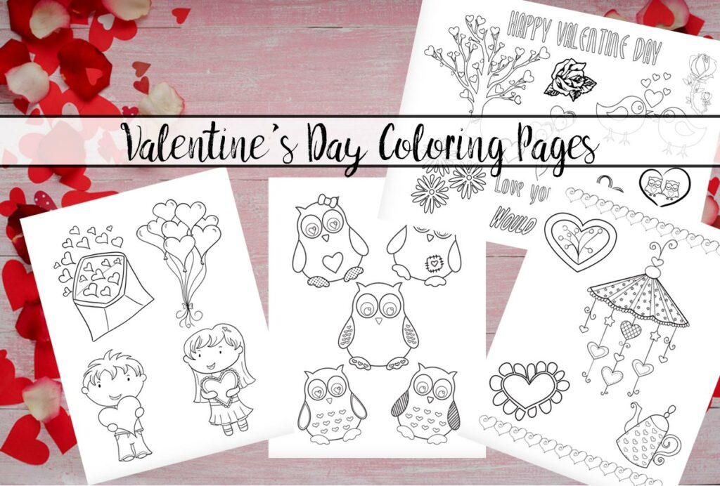 Featured image for free printable valentines day coloring pages. Pink wood, rose petals, image of coloring sheets, and text overlay.